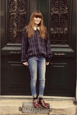 vintage shoes - Zara jeans - vintage sweater - vintage shirt