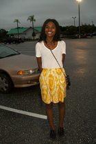 gold skirt - white shirt - black shoes - black purse