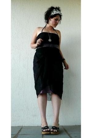 black dress - purple belt