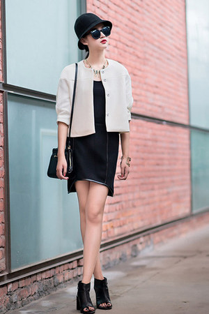 black mixmoss dress - white mixmoss jacket