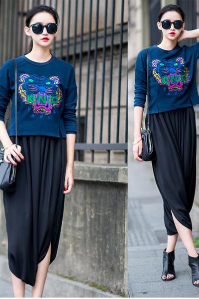 black mixmoss coat - black mixmoss pants - navy cotton top mixmoss top