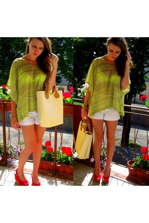 yellow   blouse - ivory  shorts - red  wedges