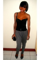 top - grey harem Forever 21 pants - grey pumps Forever 21 heels