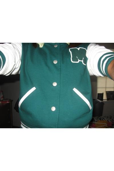 turquoise blue varsity jacket Forever 21 jacket