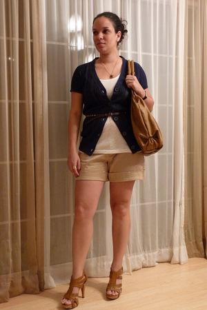 beige Target shorts - white Walmart shirt - blue Target cardigan - gold Thrift S