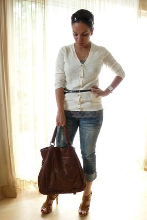 brown Steve Madden bag - orange Chinese Laundry shoes - gray Maurices top