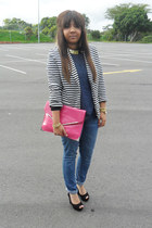 navy striped blazer - hot pink bag - black suede Aldo wedges