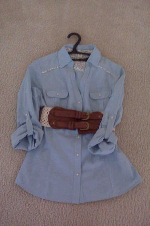 blue Forever 21 shirt - brown Forever 21 belt