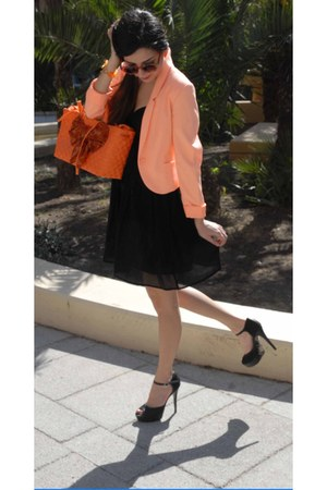 orange fluo H&M blazer - black Tata shoes - black Calliope dress