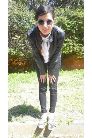 army green camo Primark shoes - black H&M jeans - black leaghter jacket