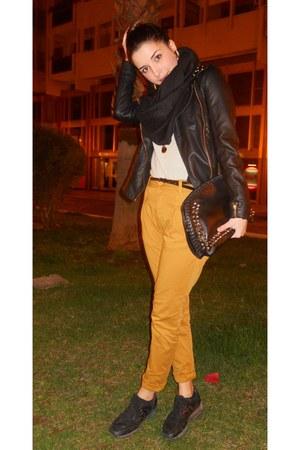 black hogan shoes - black golden studs Stradivarius jacket