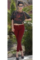 gray Tata shoes - gray jask&jones diy sweater - ruby red Zara pants