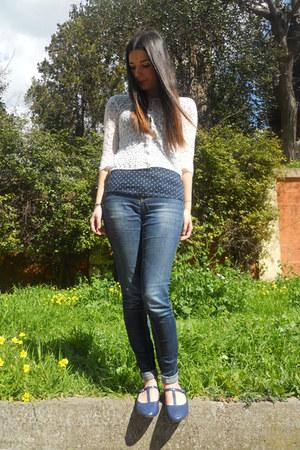navy pois Bershka t-shirt - navy Zara Trafaluc jeans - white Zara Basics sweater