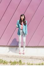 turquoise blue wwwartfitcokr blazer - light blue wwwartfitcokr pants - hot pink
