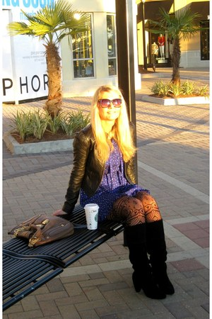 suede Urban Outfitters boots - Forever 21 dress - leather jacket Bebe jacket - l