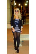 navy stripe dress stripe dress Forever 21 dress - black studded boots shoes
