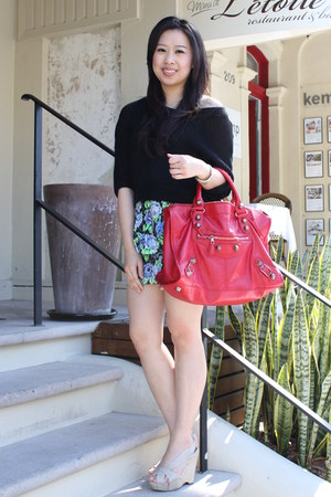 red balenciaga bag - black Dotti top - chartreuse Review skirt