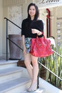 Red-balenciaga-bag-black-dotti-top-chartreuse-review-skirt