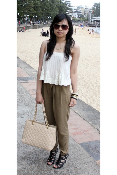 white bardot top - brown Topshop pants - black Nine West shoes - beige Chanel ba