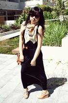 cream cotton on scarf - black Dotti dress - bronze asos belt - bronze Wittner sh