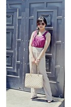 pink MinkPink top - beige bardot pants - beige Chanel bag - beige tony bianco sh