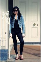 blue Just jeans jacket - black cotton on top - black supre tights - brown tony b