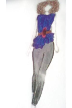 purple blouse - brown belt - gray leggings