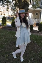 straw off brand hat - sky blue tini lili dress - white off brand tights