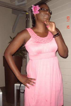 pink TJ Maxx dress - blue bra