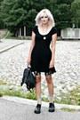Black-thrifted-dress-black-thrifted-bag-black-monki-shorts