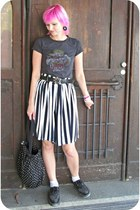 charcoal gray random t-shirt - black H&M bag - white PTA shorts