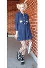 Navy-vintage-dress-black-underground-england-shoes-nude-h-m-tights
