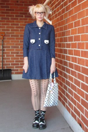 navy vintage dress - black underground england shoes - nude H&amp;M tights