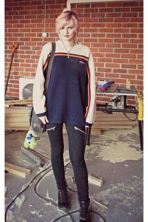 black random boots - black Make Way jeans - navy vintage Vans sweater
