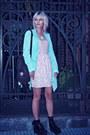 Black-backpack-boots-pink-thrifted-dress-light-blue-denim-shirt