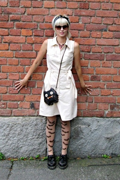 black modcloth bag - off white warehouse dress - neutral random tights