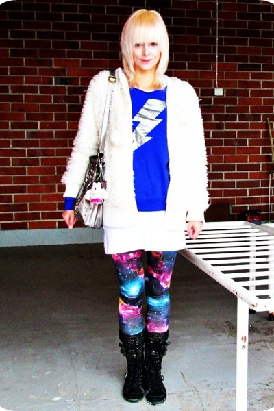 white fluffy hoodie random hoodie - purple galaxy romwe leggings
