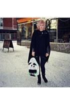 black Make Way jeans - black H&M hat - black leather biker vintage jacket