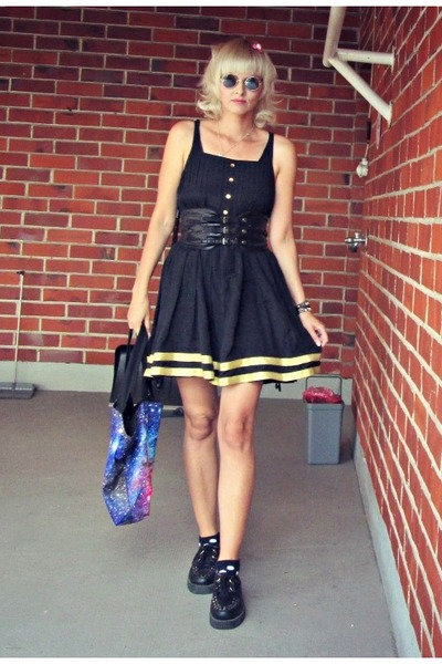 black random dress - blue random bag - gold SCUX sunglasses - black Seppälä belt