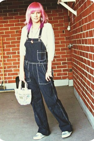 silver H&M shirt - navy overalls Diesel jeans - light pink Hamburgirl bag