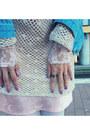 Light-pink-vintage-dress-wool-beanie-diy-hat-blue-denim-jacket-shein-jacket