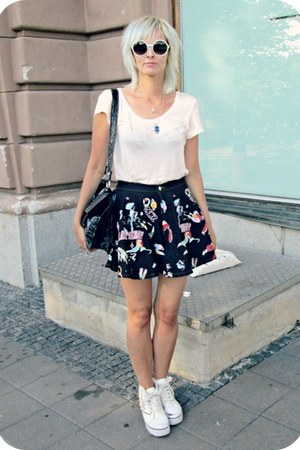 black random skirt - black vintage bag - white Glitter sunglasses
