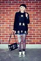 black H&M hat - black dresslily sweater - black velvet vintage blazer