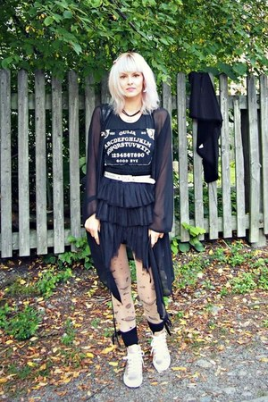 black chiffon thrifted coat - gray ouija print DIY t-shirt - black skirt