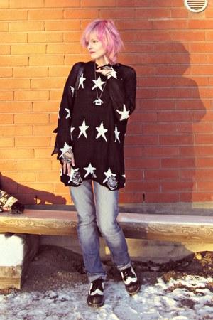 blue h&m divided jeans - black dresslily sweater
