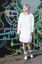 white combat boots random brand boots - white lace Seppälä dress