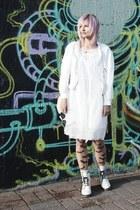white combat boots random brand boots - white lace Seppälä dress