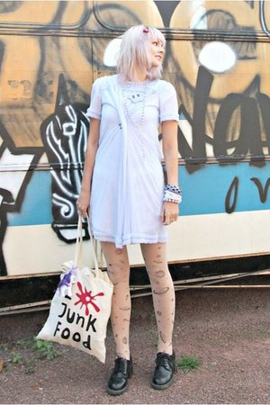 periwinkle night gown vintage dress - white eco bag bag