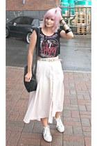 black diy crop top Sourpuss top - light pink maxi skirt vintage shirt