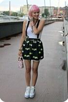 white random shorts - white HBG bag - black romwe skirt